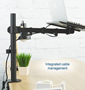 VIVO Single Laptop Notebook Desk Mount Stand - Fully Adjustable Extension with C Clamp (STAND-V001L) (Tamaño: 24 - 29.9)