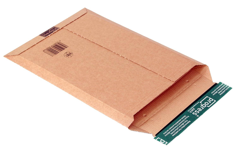progressPACK - Busta per spedizioni postali Premium PP W01.04, in cartone ondulato, formato DIN A4+, 235 x 337 max. 35 mm, confezione da 25, colore: Marrone progress packaging GmbH