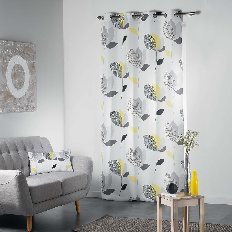 260x 140cm Douceur d /'Intérieur mylae Ösenschal Polyester gelb