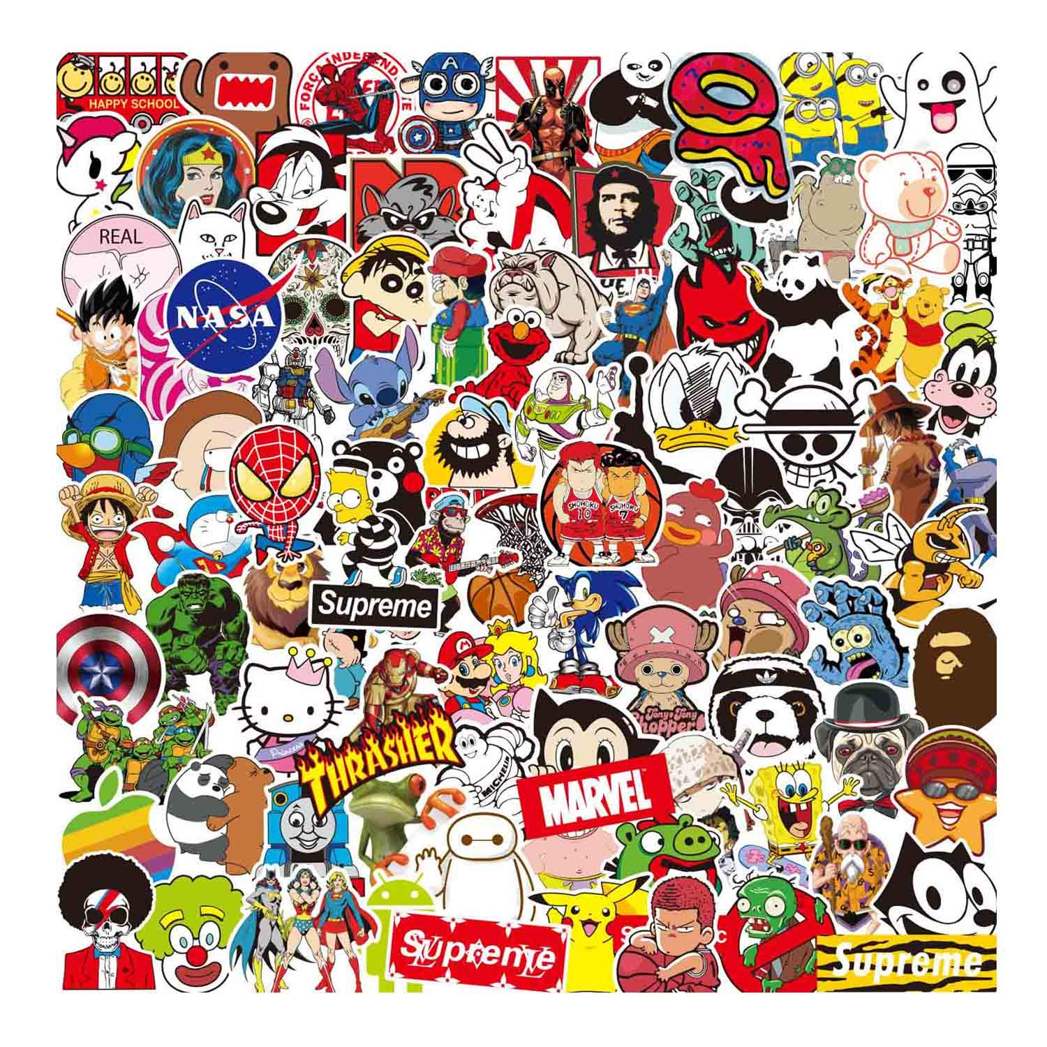 Sanmatic Sticker Pack 100 Pcs Original Cartoon Character Sticker Pack for Party Supplie Imagination Creating Teaching Bicycle Waterbottle Laptop Trunk Skateboard Personal Object Patches Stickers