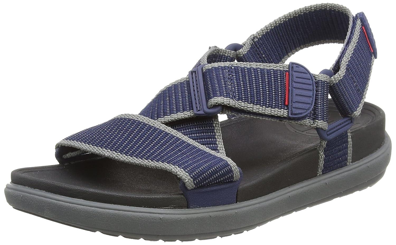 Fitflop Sling II Back-Strap Sandals In Webbing, Sandalias con Punta Abierta para Hombre 42 EU Multicolor (Midnight Navy/Charcoal 568)