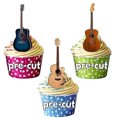 Guitarra Acústica Party Pack, decoraciones de tartas – 36 – Comestible stand-up Cupcakes