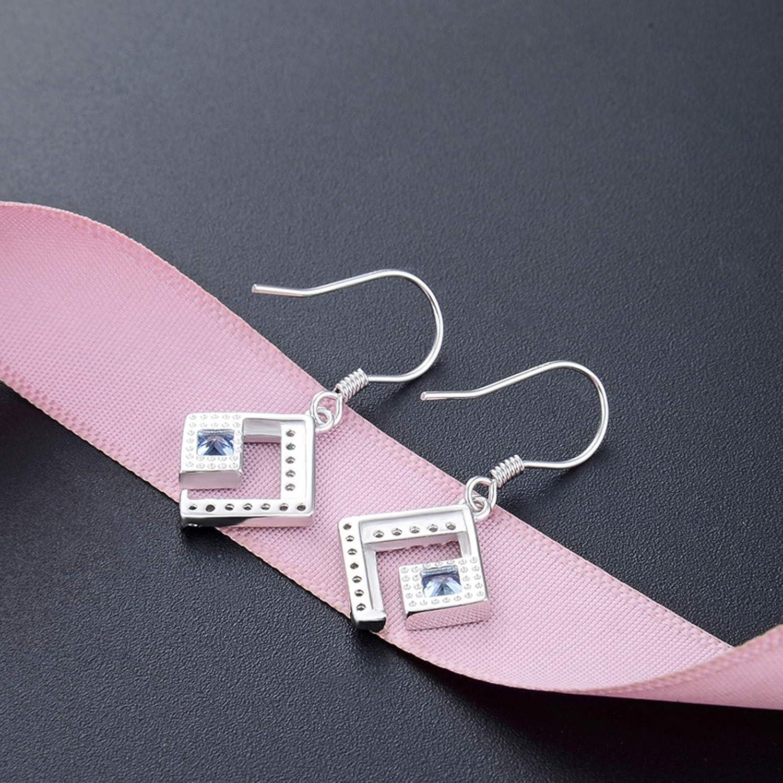 AmDxD Jewelry Sterling Silver Earring for Girls Silver Diamond Shaped Dangle Earrings Women 2.87x1.31CM
