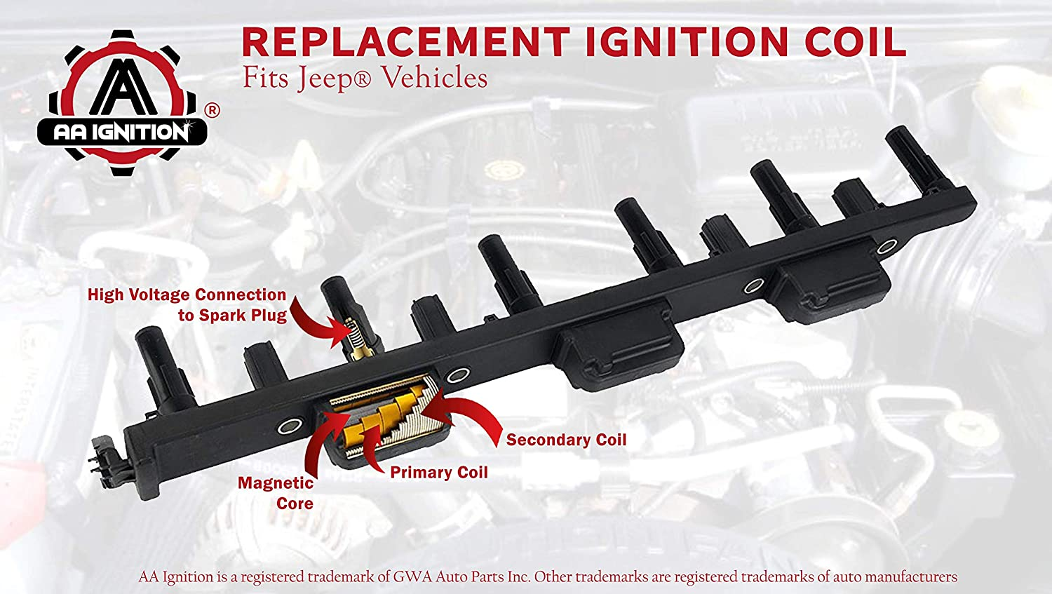 Ignition Coil Pack Fits Jeep Grand Cherokee 40l 2012 Dodge Ram Wrangler Tj Replaces 56041476ab 56041476aa 40