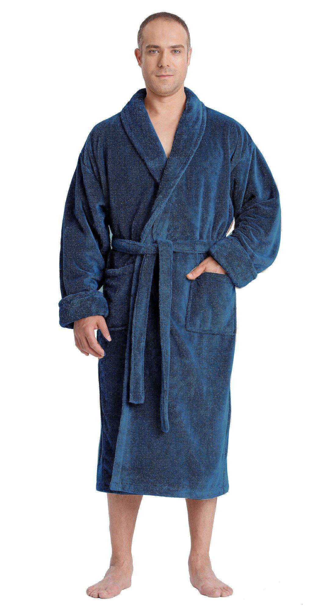 Arus Men's Satin Touch Shawl Fleece Bathrobe Turkish Soft Plush Robe Ocean Blue L/XL