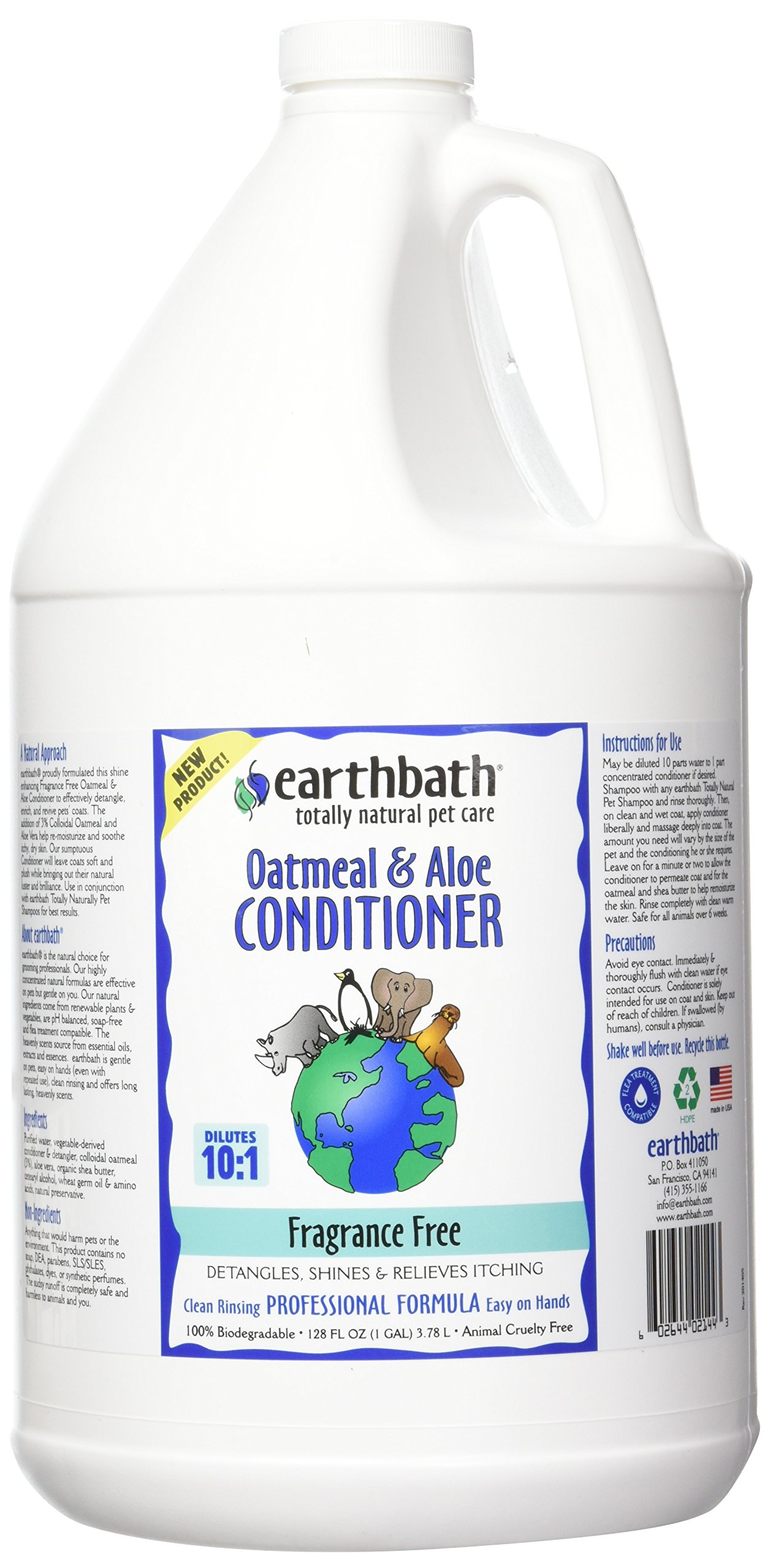 Earthbath Oatmeal & Aloe Conditioner, Fragrance Free 128 oz(1 gal) by Earthbath