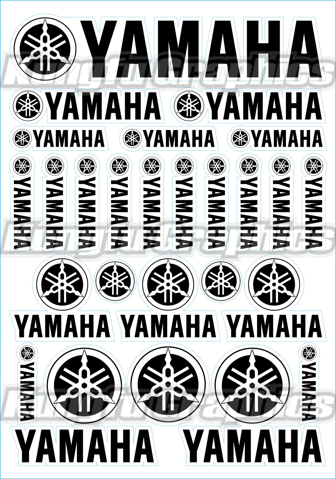 Kungfu Graphics YAMAHA Sponsor Logo Racing Sticker Sheet Universal (7.2 x 10.2 inch),Black