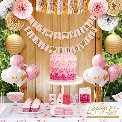 Girl Baby Shower Party Decorations Pink White And Gold Theme Decor Set With Banners
