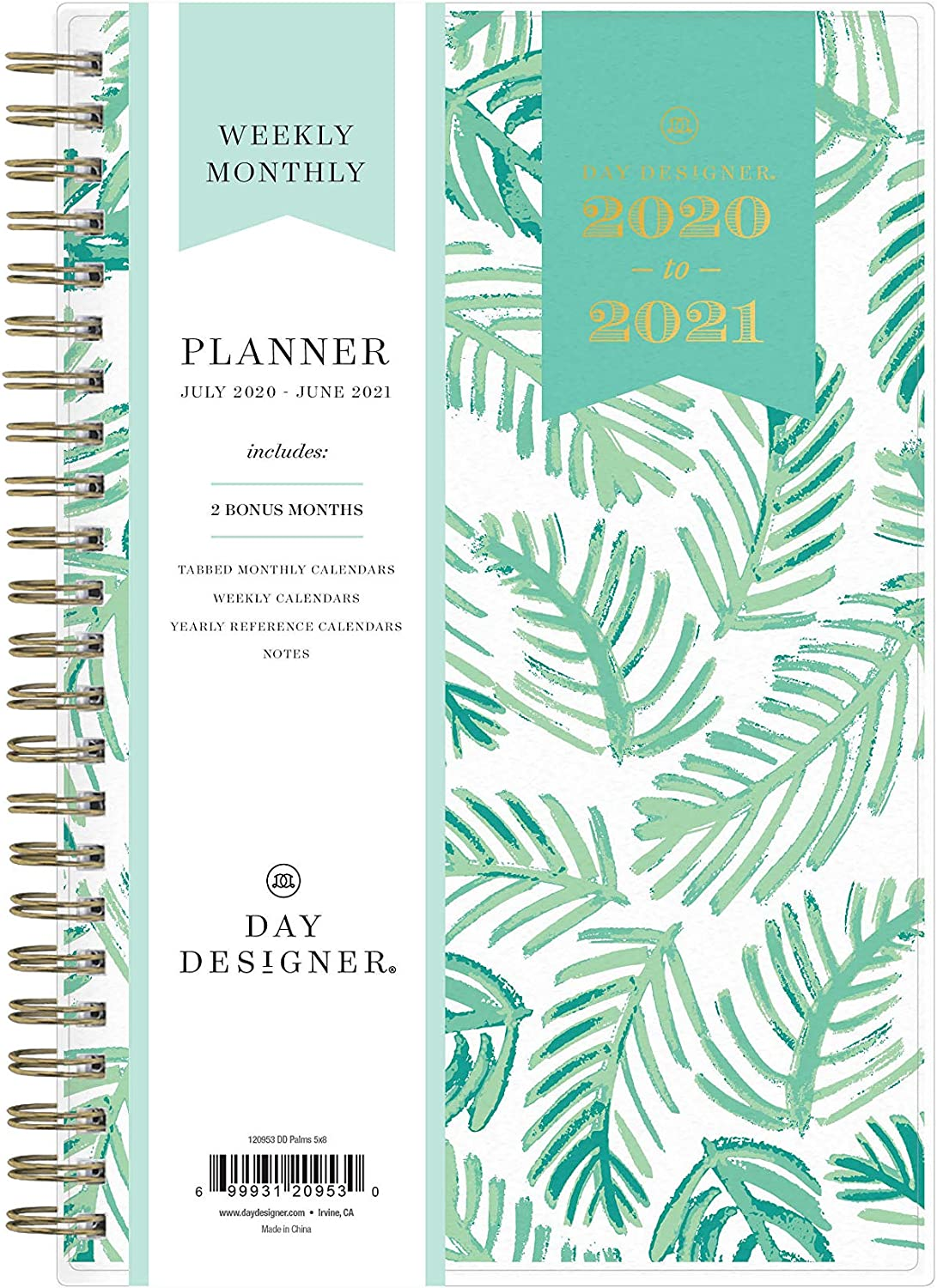 "Day Designer for Blue Sky 2020-2021 Academic Year Weekly & Monthly Planner, Flexible Cover, Twin-Wire Binding, 5"" x 8"", Palms : Office Products"