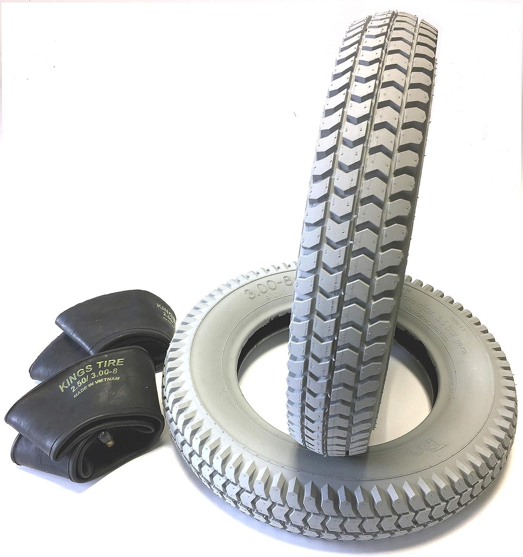 Silla 2 neumáticos 3.00 - 8, gris + 2 unidades Manguera ángulo Válvula, neumáticos kräftiges bloque perfil, estructura 4 PR Neumáticos y estable,
