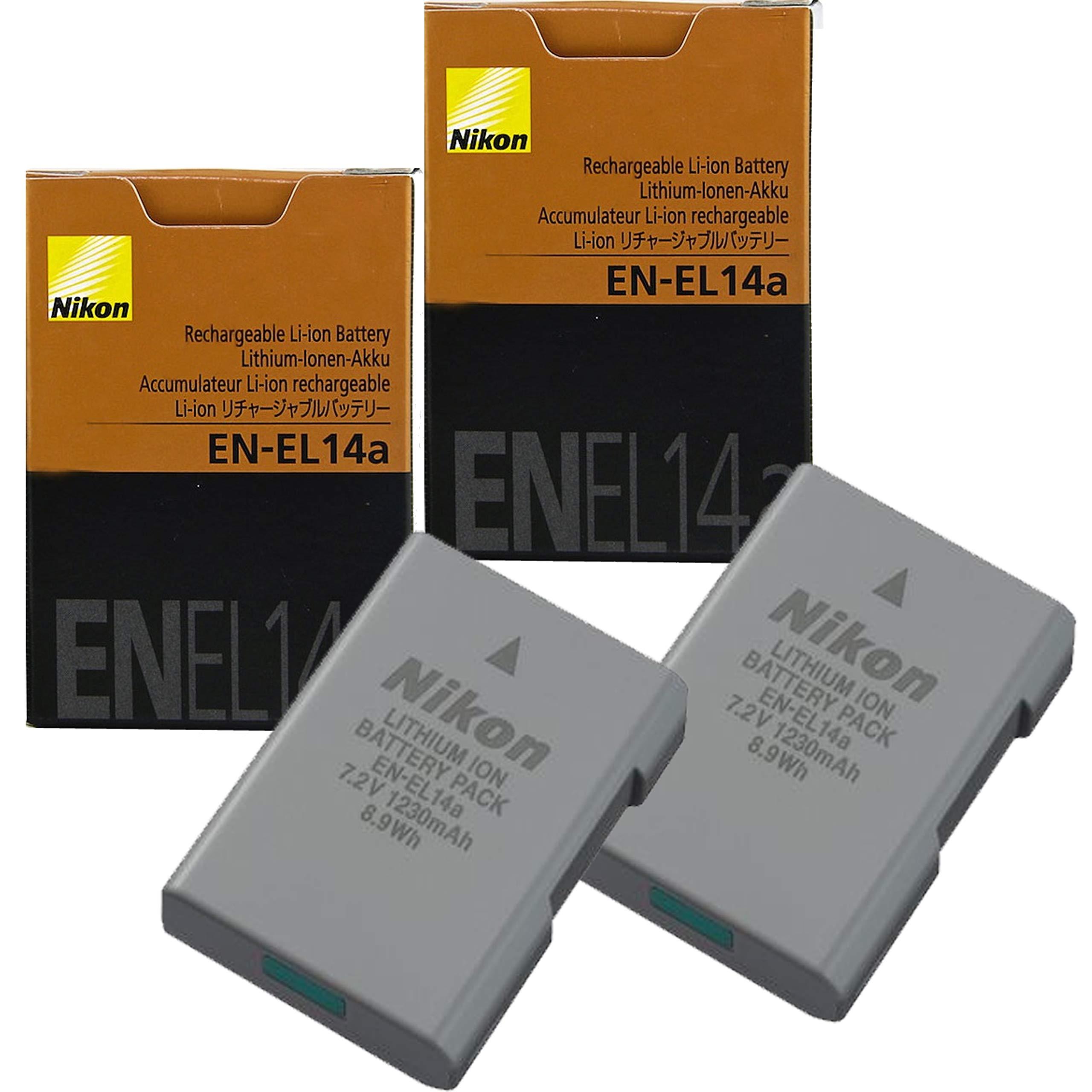 2-Pack NikonEN-EL14A Rechargeable Li-Ion Battery for Nikon D3100, D3200, D3300, D3400,D3500,D5200, D5300, D5500, D5600