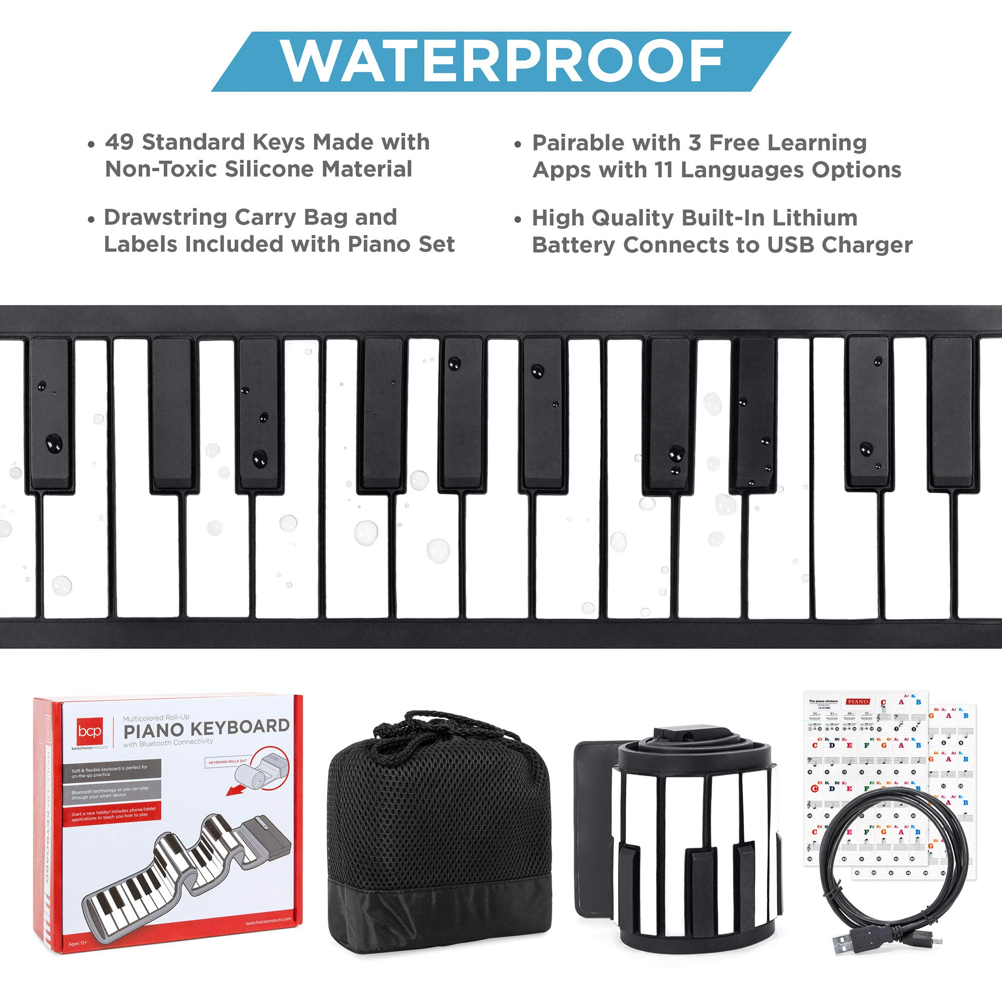 Best Choice Products Kids 49-Key Portable Flexible Roll-Up Piano Keyboard Musical Educational Toy Instrument w/Learn-To-Play App Game, Bluetooth Phone Pairing, Note Labels, USB Charging - White by Best Choice Products (Image #2)