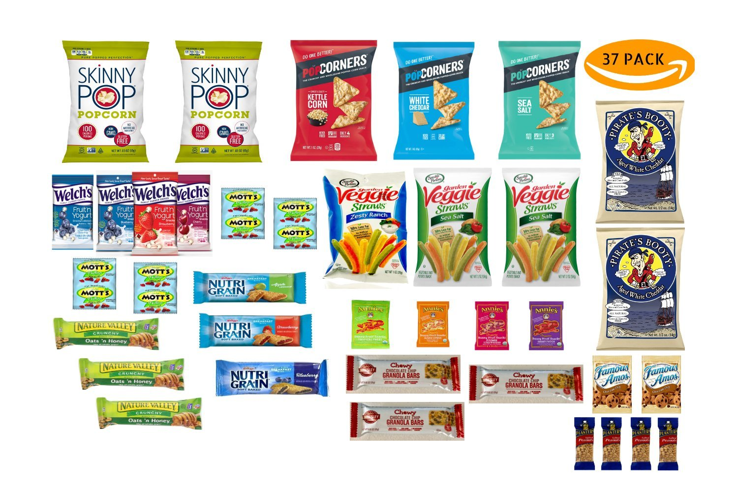 HEALTHY SNACKS, BAR AND GUMMIE VARIETY PACK by Thrive Grocery - assortment of 37 individually wrapped, full-size single serve snacks. by Thrive Grocery