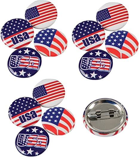4 Dozen (48) Awesome Mini Patriotic Buttons/Pins (1 inch) / Novelty/Stars & Stripes/USA/American Pride