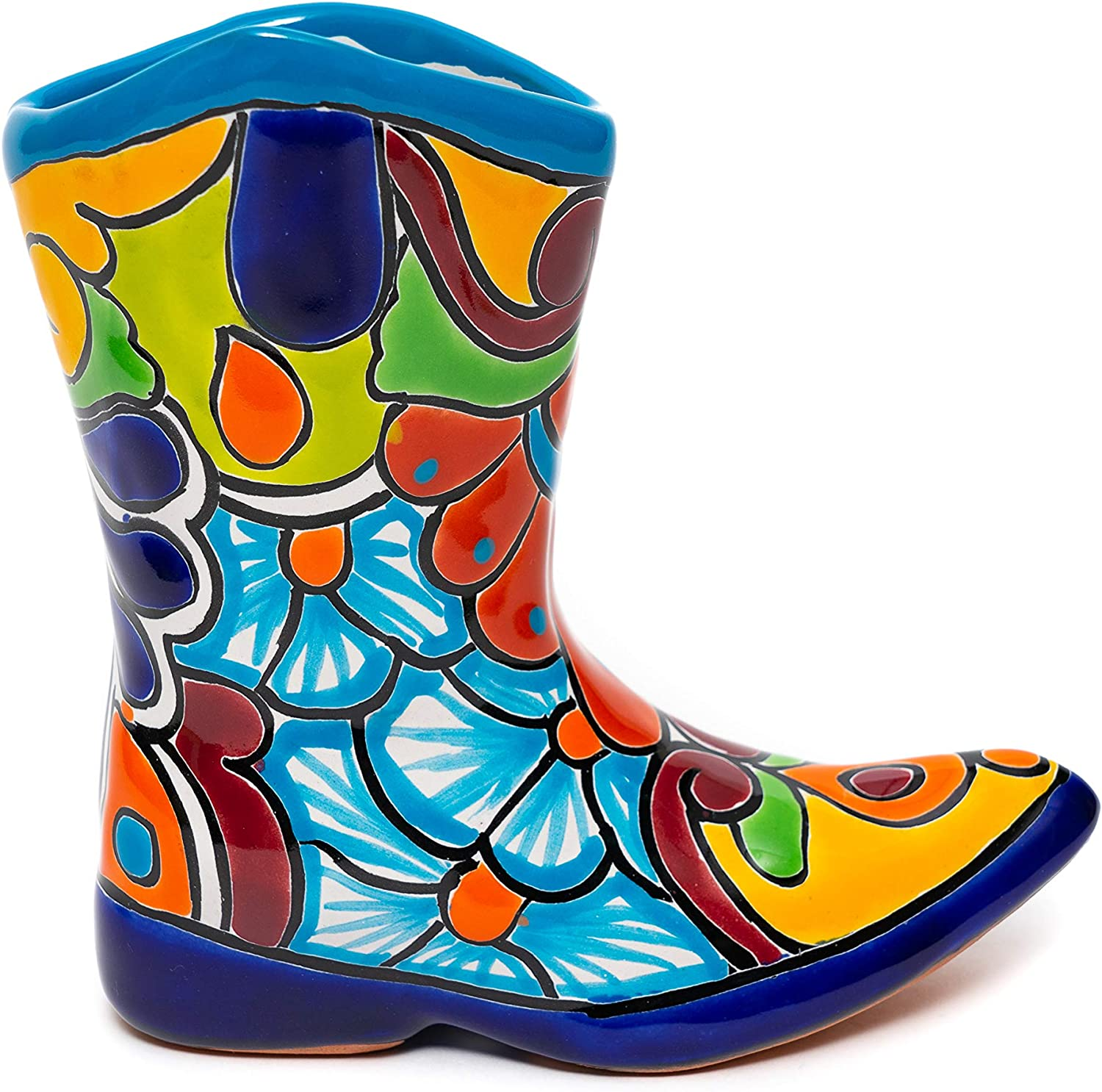 """Enchanted Talavera Mexican Pottery Western Cowboy Boot Flower Pot Herb Planter Ceramic Plant Pot Planter Indoor Outdoor Use Flower Vase Garden (Small (7.5"""" x 8""""), Turquoise)"""