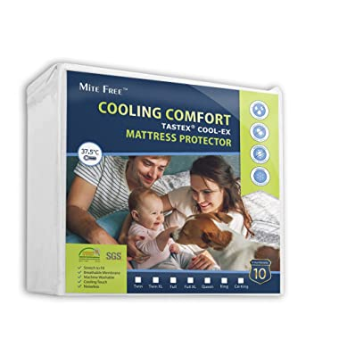 King Size Mattress Protector Cooling, Hypoallergenic, 100% Waterproof Mattress Cover - Vinyl Free - 15 Year Warranty
