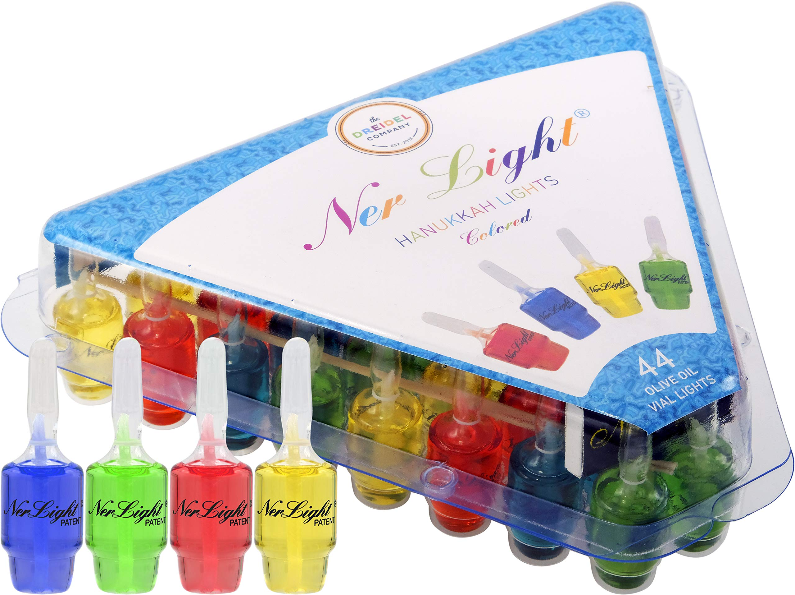 Pre-Filled Oil Hanukkah Menorah Oil Glass Cup Candles Ner Light Chanukah Oil Cups 44  Colored 100 Percent Olive Oil Cups