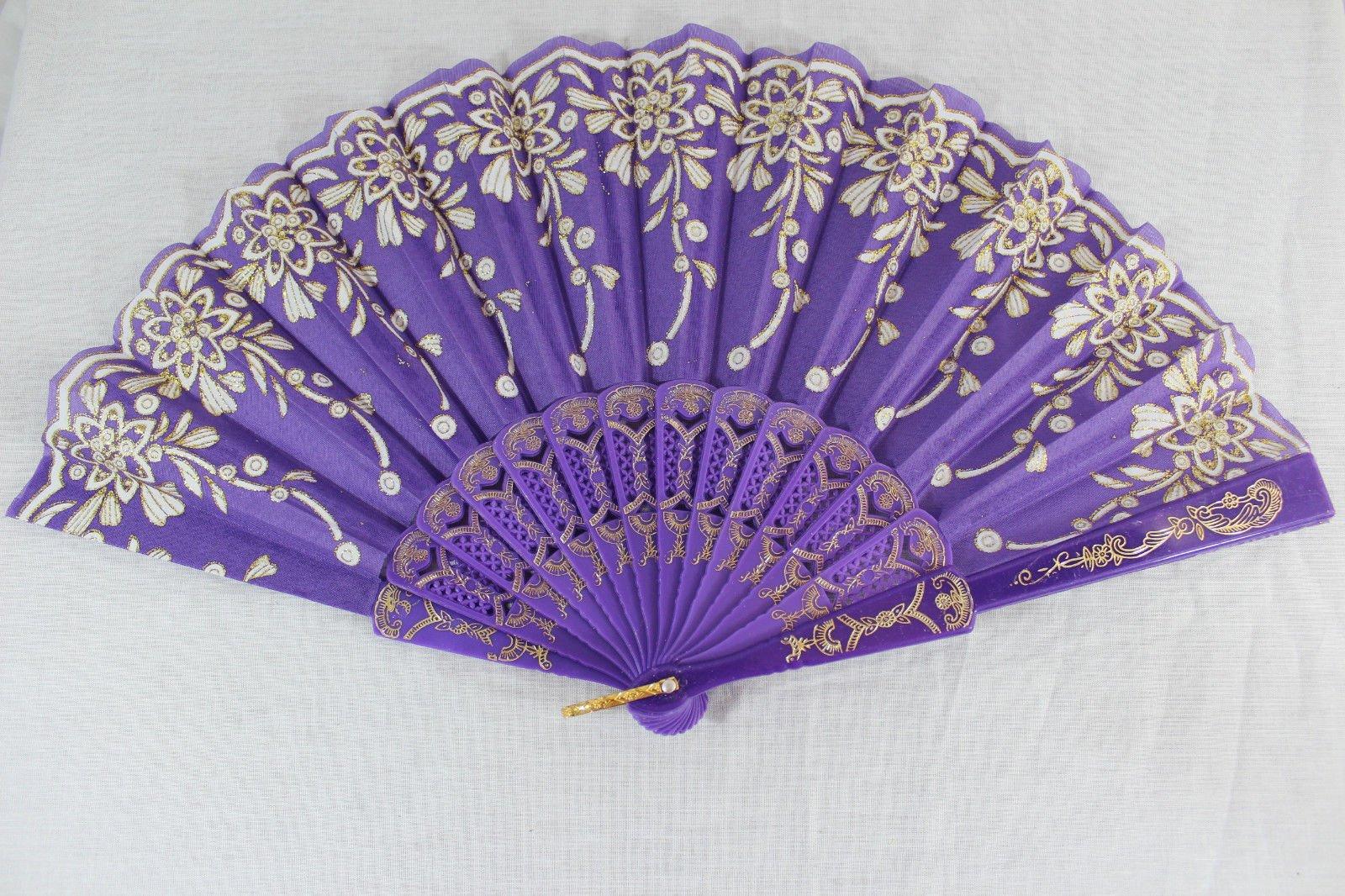 Purple Vintage Spanish Style Dance Party Wedding Lace Folding Hand Held Flower Fan