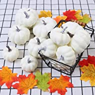 Geniusus 12pcs White Artificial Pumpkins, Assorted Sizes Fake Pumpkin White for Halloween Autumn Thanksgiving Party Decoration Photography Prop