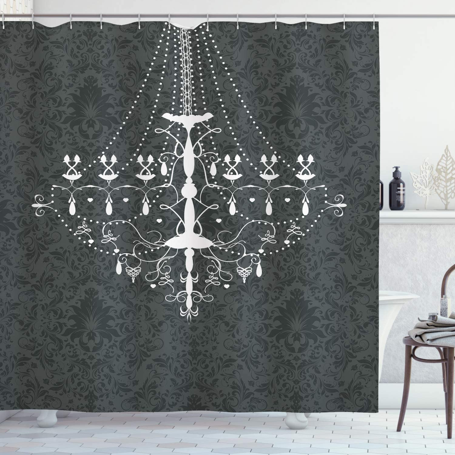 "Ambesonne Vintage Shower Curtain, Victorian Baroque Nostalgic Chandelier on Damask Background Rococo Design, Cloth Fabric Bathroom Decor Set with Hooks, 70"" Long, Dark Grey"