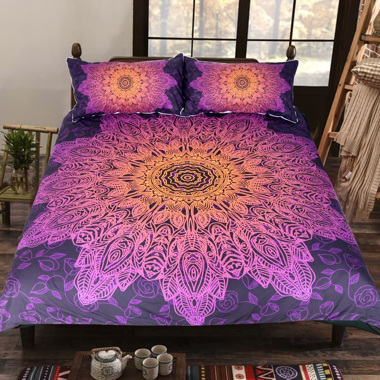 Sleepwish India Inspired Bedding 3 Piece Pink Floral Duvet Cover Teen Purple Bedding Boho Chic Woman Bed Spread (Full)