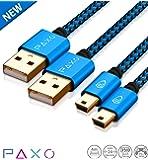2 x 4m Ladekabel für PS3 Controller, USB auf Mini USB Kabel lang, geflochten, vergoldet, blau/schwarz