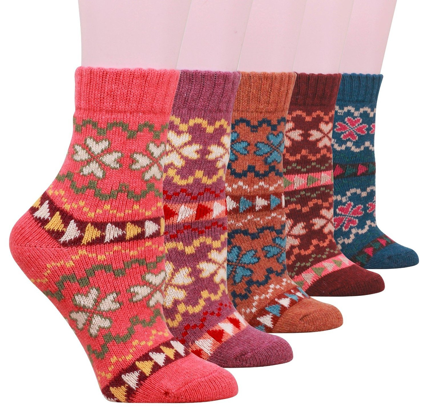 PlayWorld Womens Knit Warm Wool Socks 5 Pairs