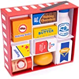 Baker's Mart Ingredient Set   Wooden Play Food Baking Groceries   Includes Baking Soda, Chocolate, Milk, Sugar, Vanilla, Flour, Sprinkles, Butter and Egg   Pretend Play Food Kitchen Accessories