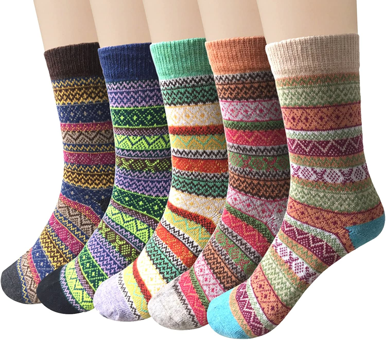 One 4 5 Pairs Womens Socks Wool Thermal Warm Knitting Ladies Socks for Winter