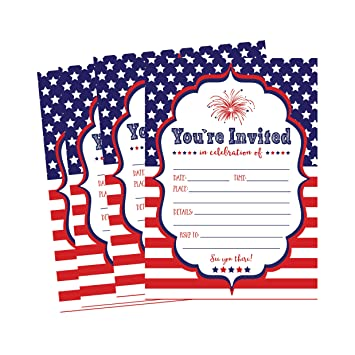 amazon com 50 patriotic summer bbq party invitations for children