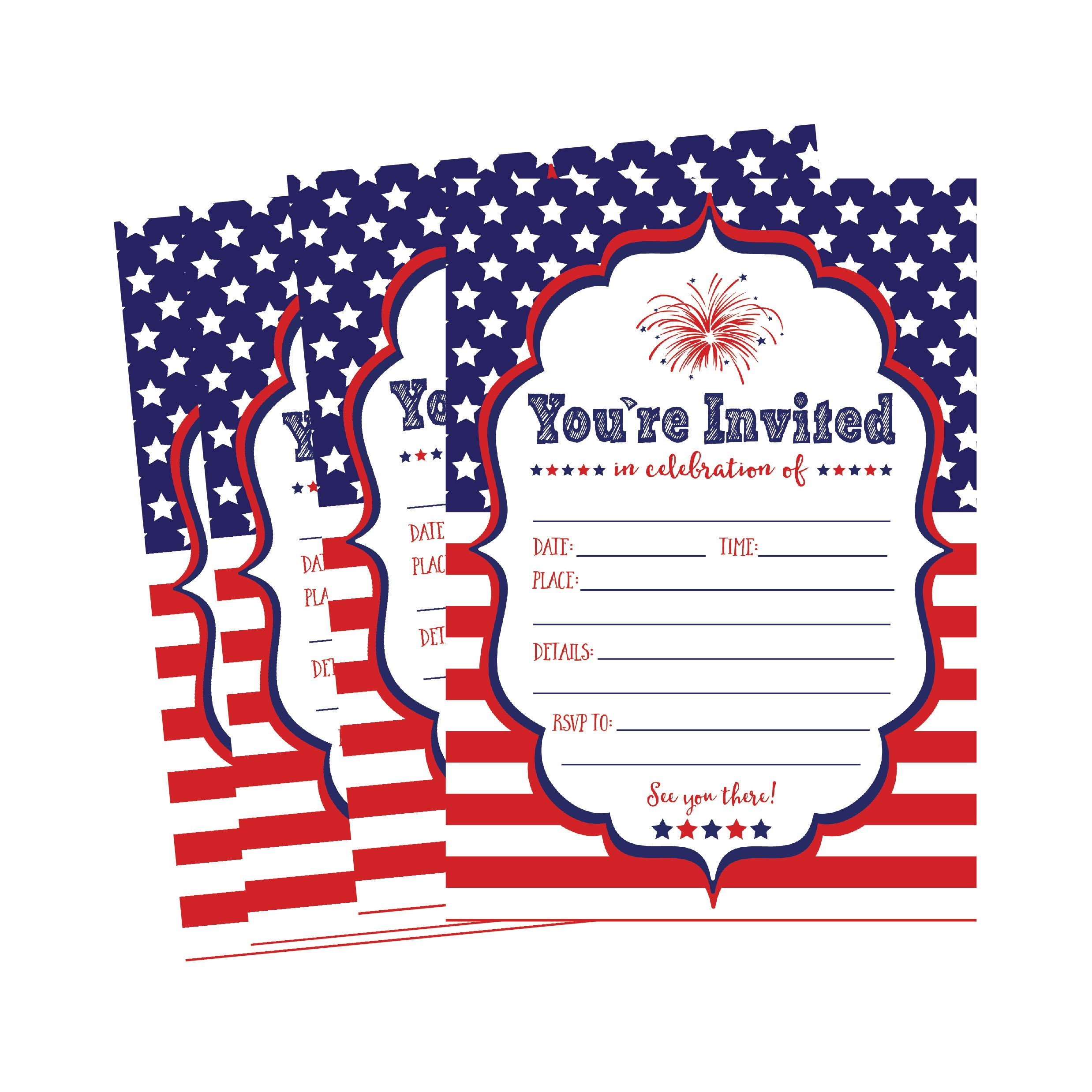 50 Patriotic Summer BBQ Party Invitations for Children, Kids, Teens Adults Fourth Barbecue Cards, Red White and Blue 4th of July Military Graduation Pool Family Reunion Invite, Picnic Cookout Invites by Hadley Designs