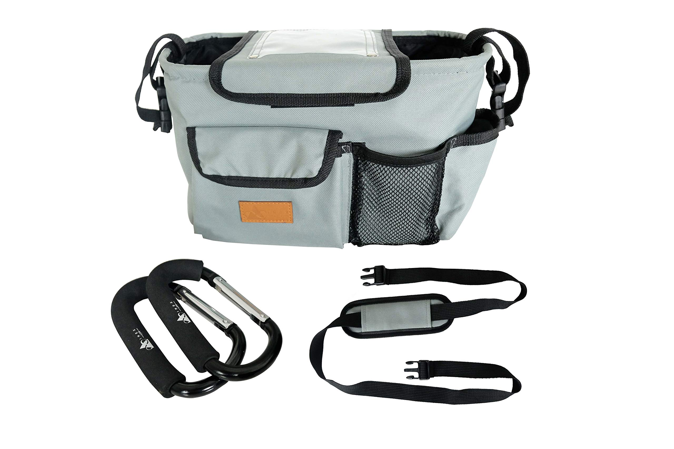 Stroller Organizer & Padded Hooks - Universal Parent Console, Caddy, Carriage Accessories | Durable NO Sag or Shape Loss, Collapsible Design | Padded Shoulder Strap, Deep Insulated Cup Bottle Holder