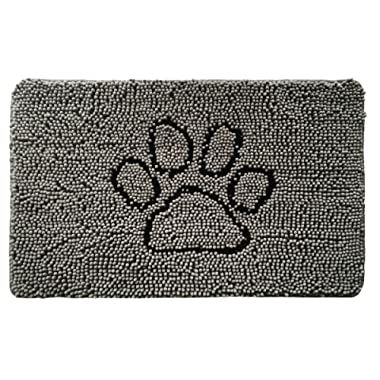 Gorilla Grip Original Shaggy Chenille Pet Rug Mat (30 x 20), Extra Soft on Paws, Helps Absorb Mud and Dirt, Machine Wash/Dry, Carpet Mats Perfect for Crates, Door Mat, Dog Beds, Under Bowls (Paw Gray)