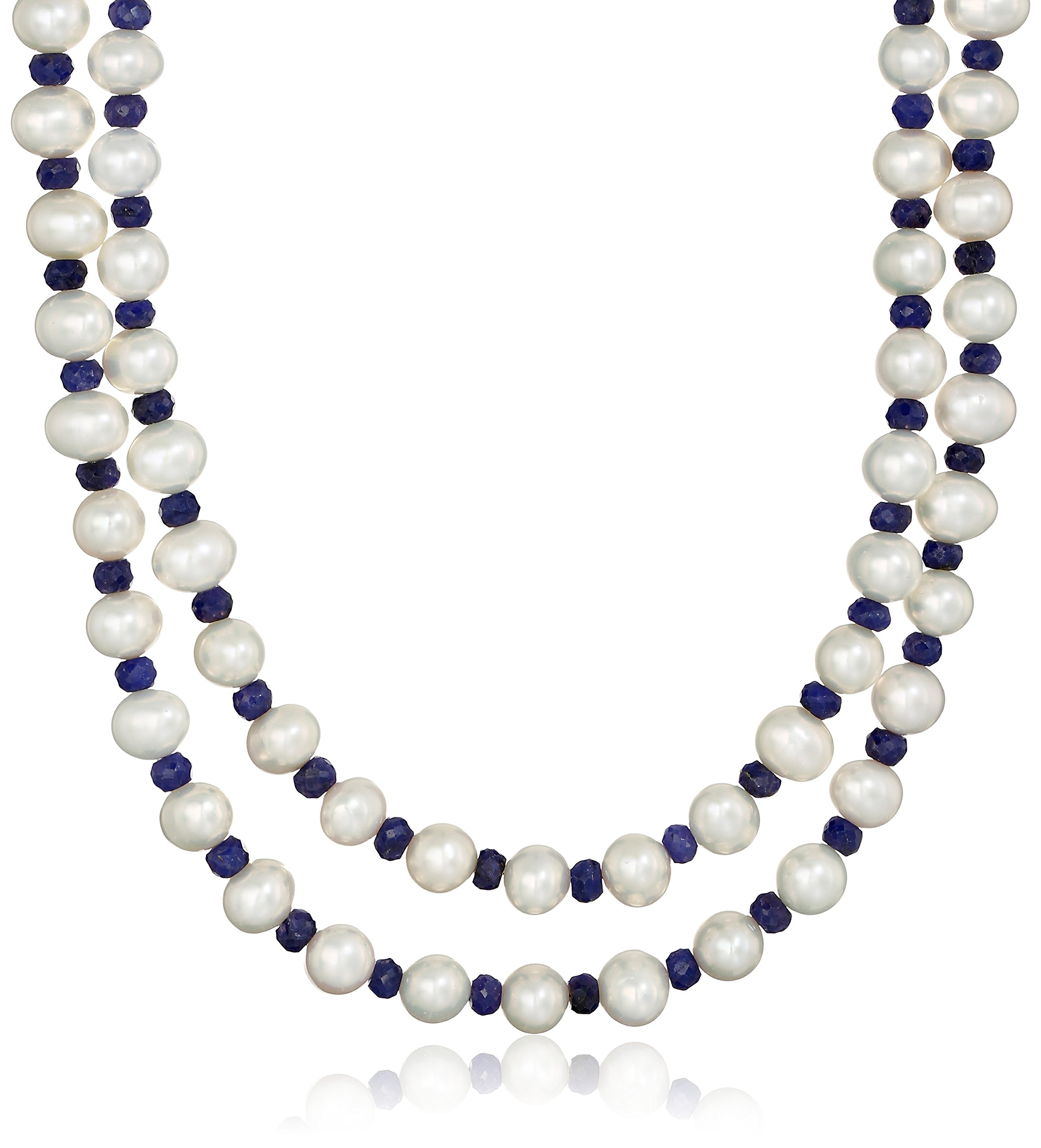 7-7.5mm White Cultured Freshwater Pearl with 4-5mm Blue Sapphire Gemstone Endless Strand Necklace, 50''