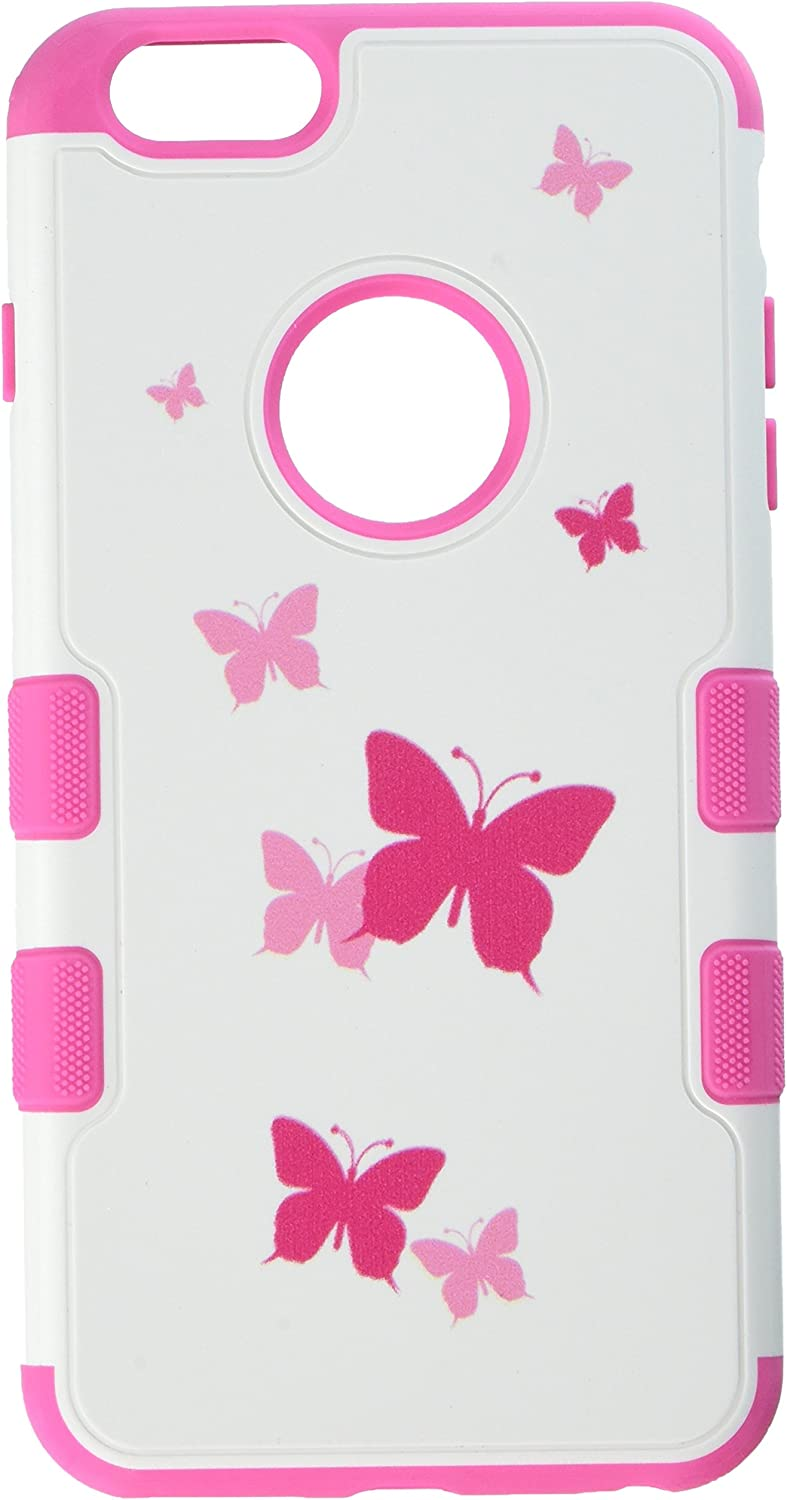 MyBat APPLE iPhone 6 Plus TUFF Merge Hybrid Protector Cover - Retail Packaging - Butterfly Dancing/Hot Pink