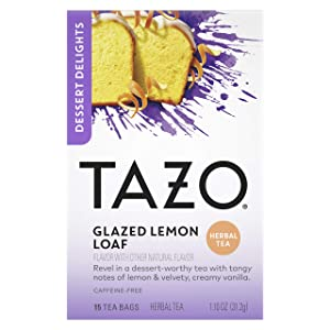 Tazo Dessert Delights Tea Glazed Lemon Loaf Sugar and Calorie Free 15 Count, Pack of 6