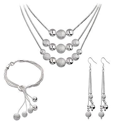 52245d0b54a0 Styleziel Juego de joyas para mujer set collar pendientes pulsera bolas  plata 925 pl 46 cm de largo 1801  Amazon.es  Joyería