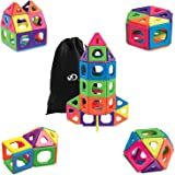 Discovery Kids 51 Piece Magnetic Building Tiles Set, Magnet Blocks 51pcs Construction Kit in 6 Colors, Creativity STEM Toy for Preschool Toddlers, Kids, Girls, Boys w/ Storage Bag {Upgraded Version}