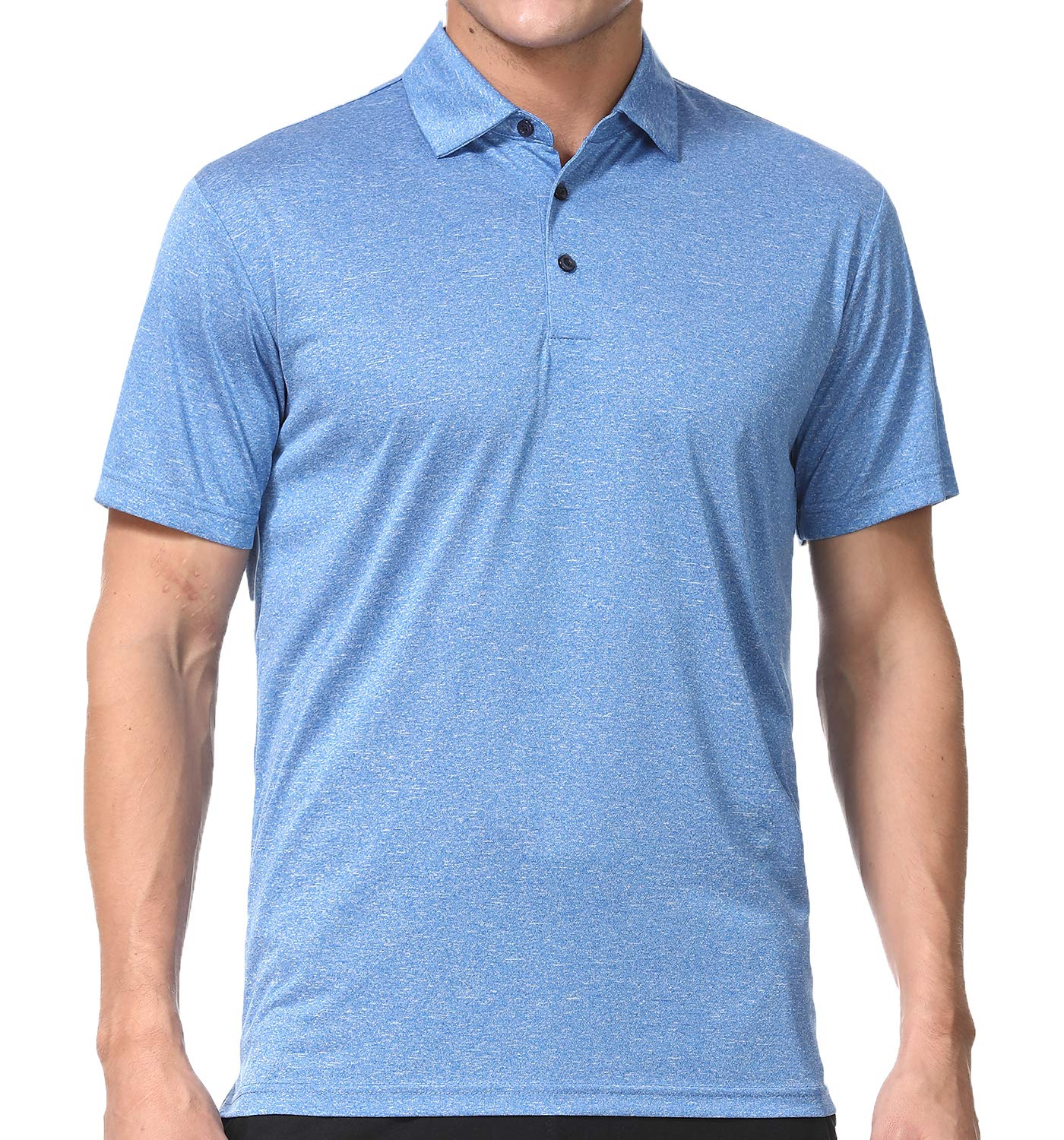 Men's Polo Shirts - Dry Fit Performance Short Sleeve Glof Polo T Shirt for Men (M, Light Blue) by COSSNISS