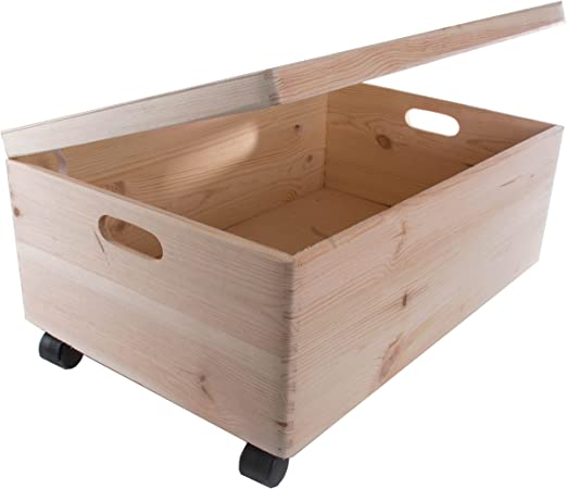 Caja rectangular de madera con tapa y asas para almacenar juguetes ...