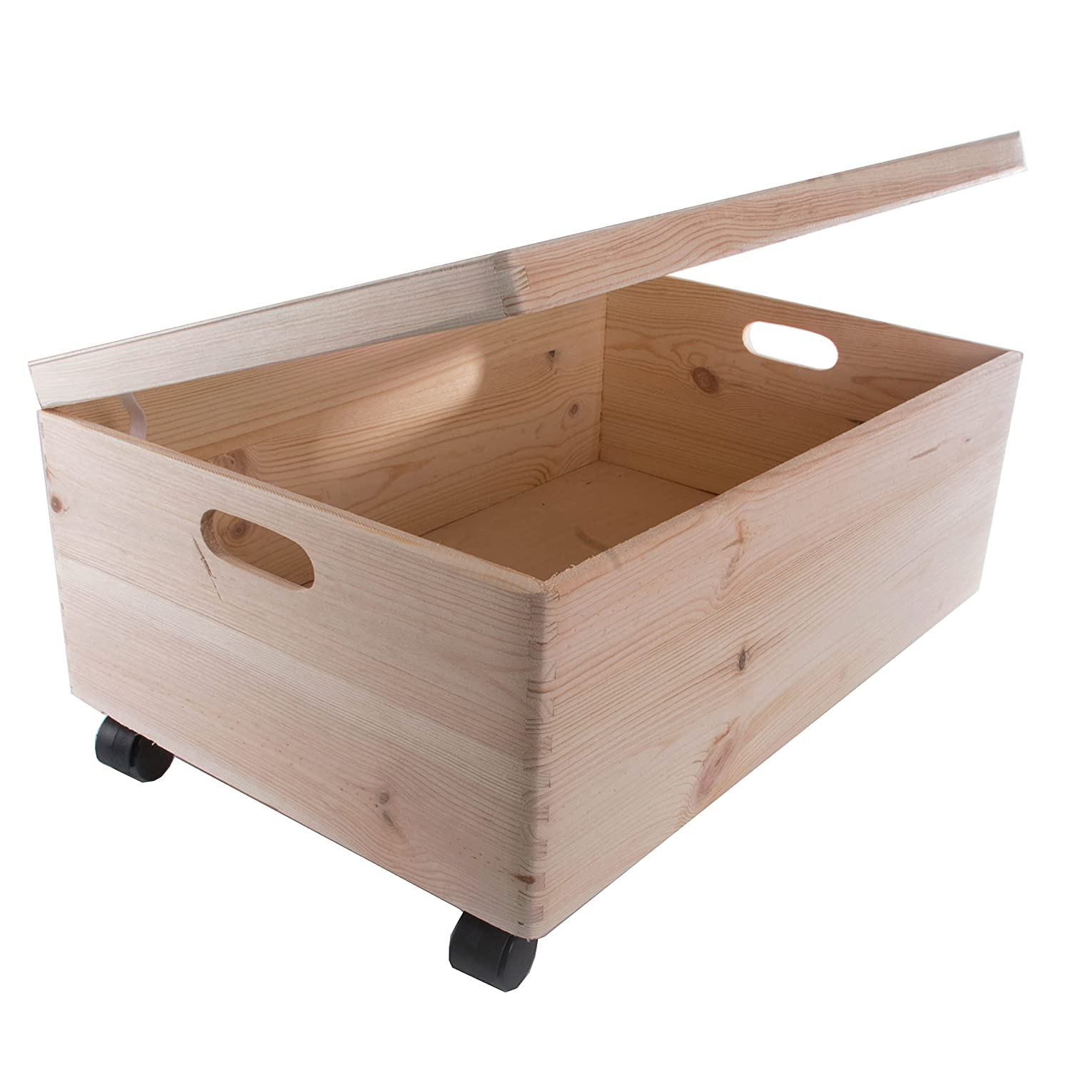 Extra Large Rectanqular Wooden Storage Box With Lid / Wooden Chest With Handles / Storage Trunk /Toy Chest On Wheels 60x 40x 24cm Search Box