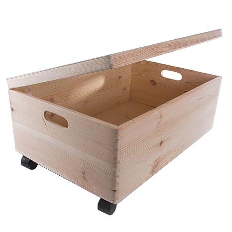 Caja rectangular de madera con tapa y asas para almacenar juguetes, de 60 x 40