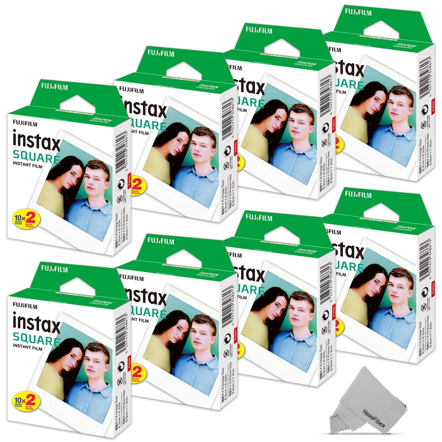 FujiFilm Instax Square Instant Film 8 Twin Pack of 160 Photo Sheets - Compatible with FujiFilm Instax Square SQ6, SQ10 and SQ20 Instant Cameras by HeroFiber