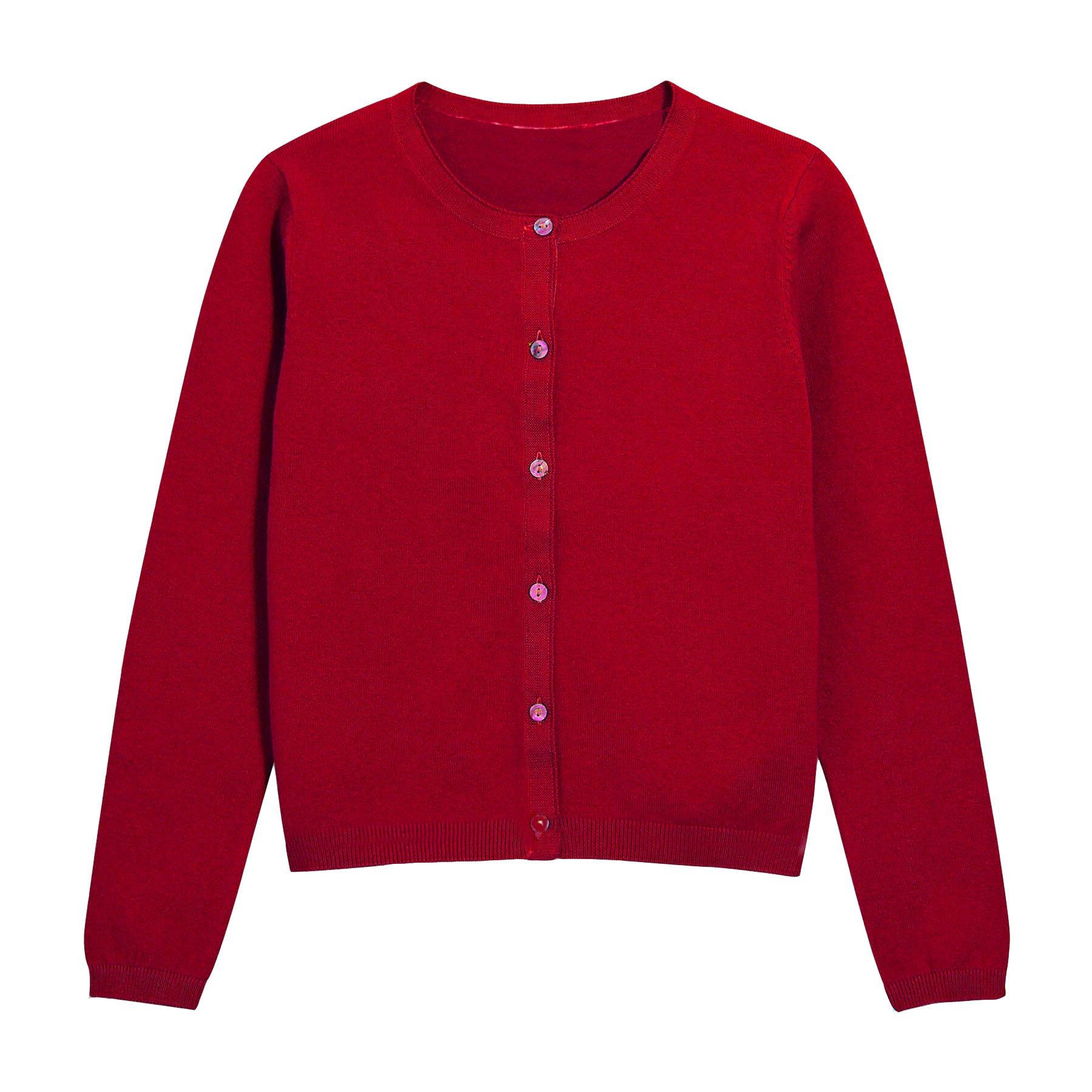 Hollywood Star Fashion Khanomak Kids Girls Crew Neck Cardigan Sweater (Size 5/6, Red)