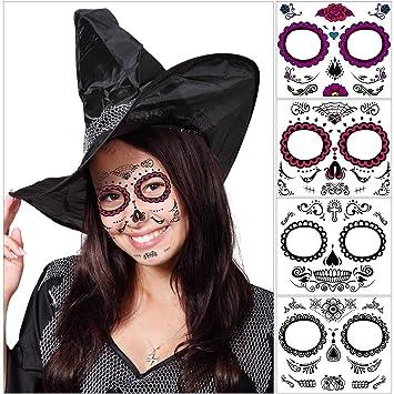unomor halloween sugar skull makeup day of the dead tattoos mask for skeleton costumes