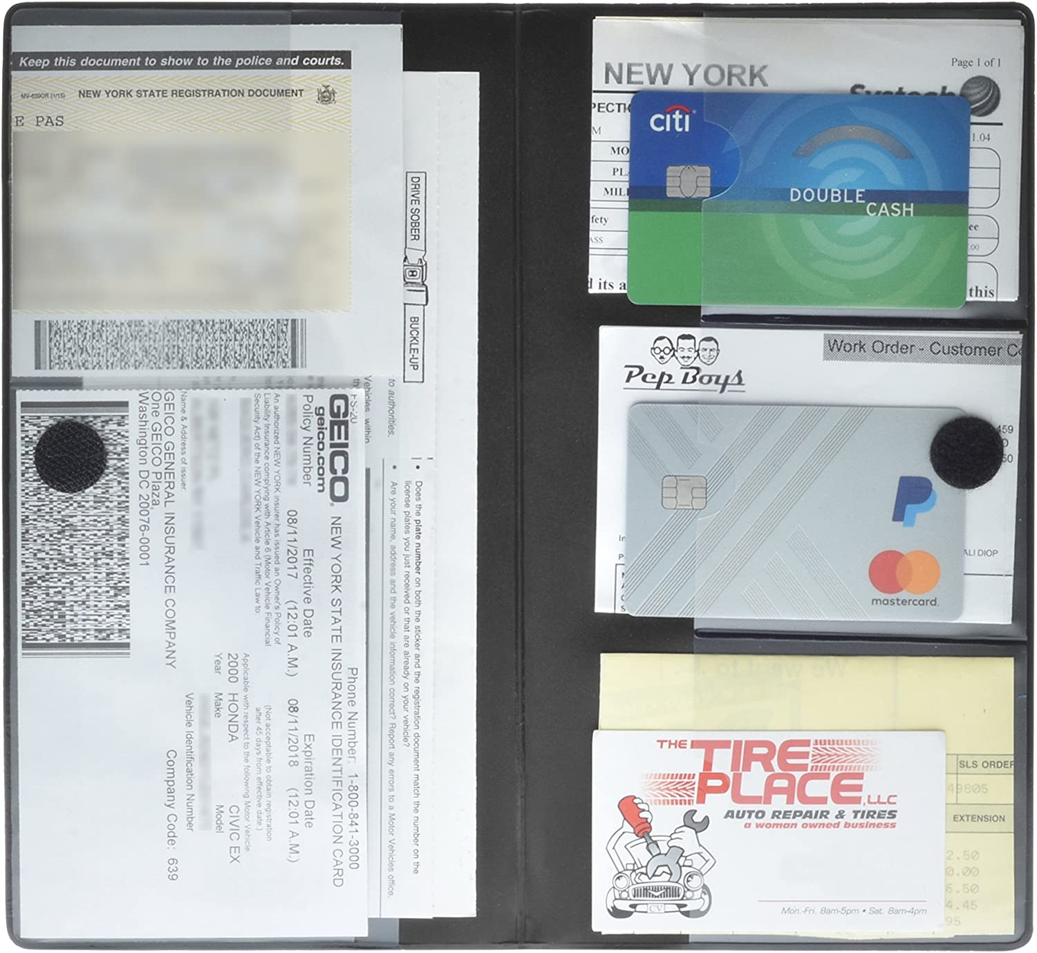 Premium Quality Automobile Essential Documents Wallet 2 Pack Deluxe Car Insurance and Registration Card Holder