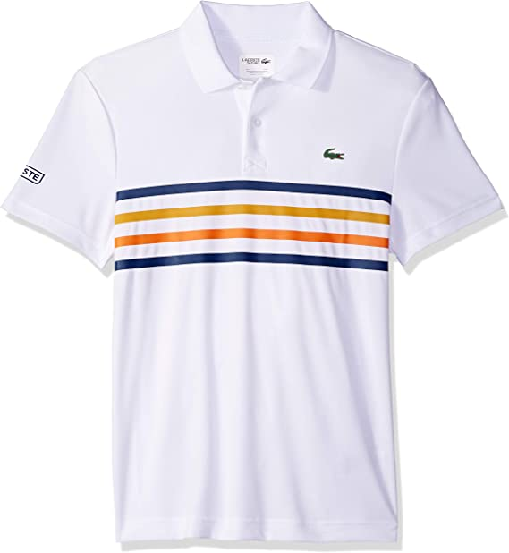 7 NWT Lacoste Men/'s Sports Short Sleeve Ultra Dry Polo with color double strip