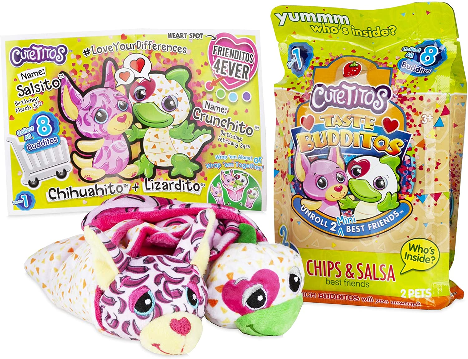Basic Fun Cutetitos Taste Budditos Chips & Salsa - 2 Collectible Plush Mini Animals - Ages 3+ - Series 1 - Great Gift for Girls and Boys