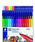STAEDTLER fiber-tip pens, triplus color, 1mm pressure-resistant tip, washable ink, triangular barrel, set of 32 vibrant…