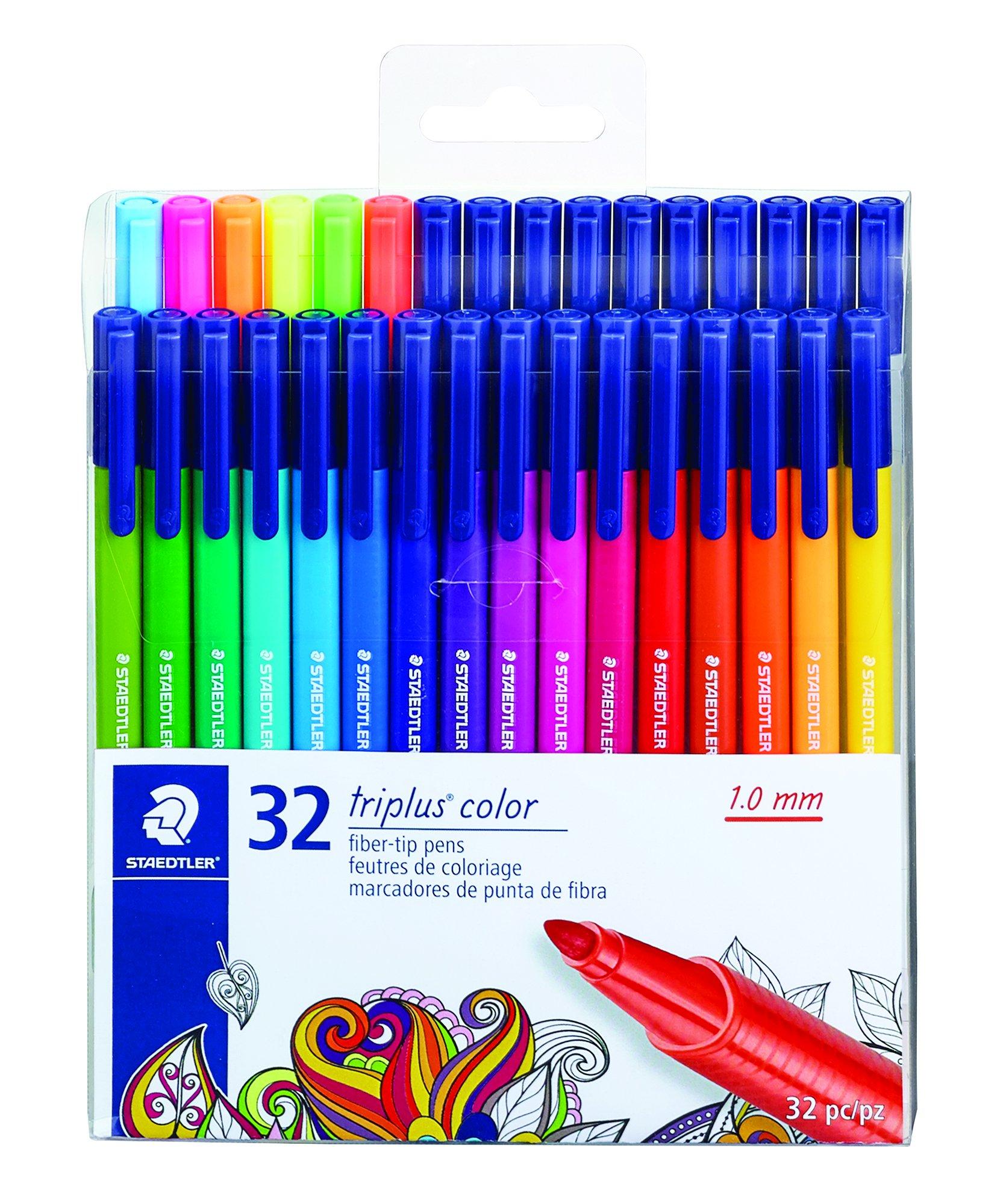 STAEDTLER fiber-tip pens, triplus color, 1mm pressure-resistant tip, washable ink, triangular barrel,  set of 32 vibrant colors, assorted, 323 TB32LU by STAEDTLER